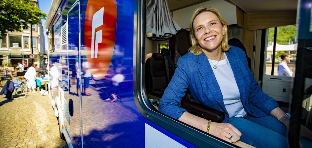 Startet valgkamp-turnéen i Drammen