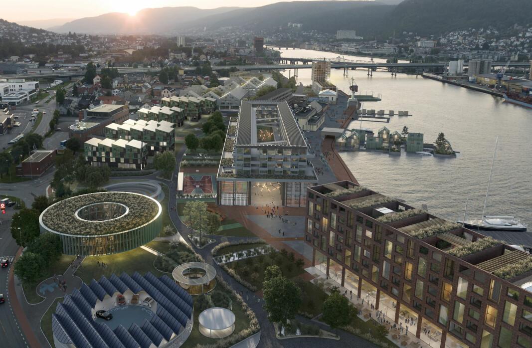 NYSKAPENDE: Slik ser et av arkitektfirmaene som har jobbet med prosjektet for seg Tangenkaia om noen år.