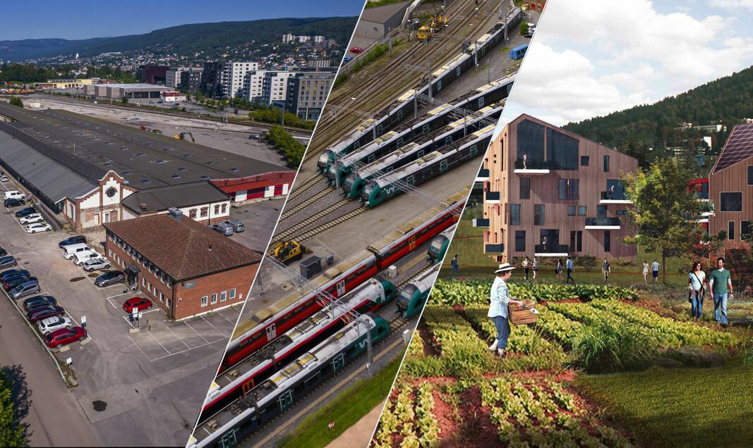 Forlatt godsterminal – midlertidig togparkering – ny bydel.