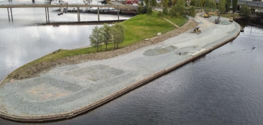 Riggingen i gang på Holmennokken- blir anleggsområde i flere år