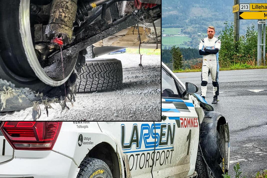 MÅTTE BRYTE: Her var løpet bokstavelig talt kjørt for Frank Tore Larsen under Rally Hedemarken lørdag.