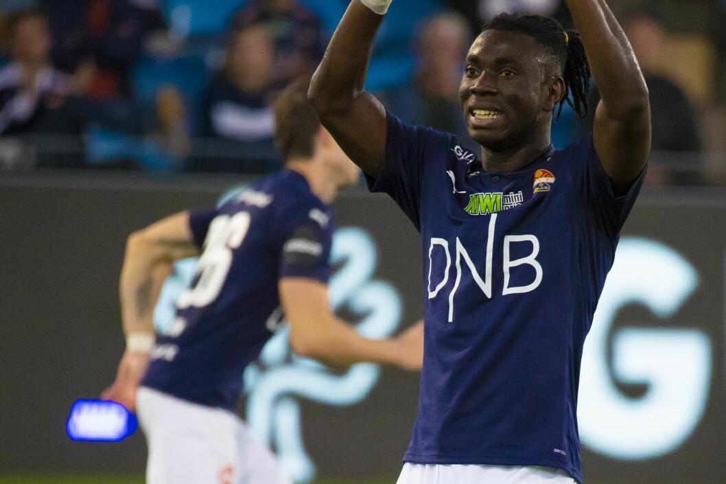 DAGENS HELT: Jordan Attah Kadiri kunne ikke fått en bedre start i Godset-trøya. Han fikk sine første minutter mot Kristiansund i forrige serierunde, men startet kampen mot Stabæk - og viste seg tilliten verdig.
