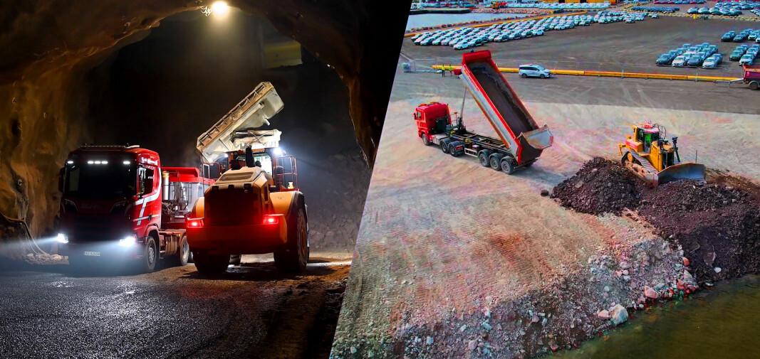 90.000 lastebillass blir ny havnekai:En million tonn tunnelstein på hjul