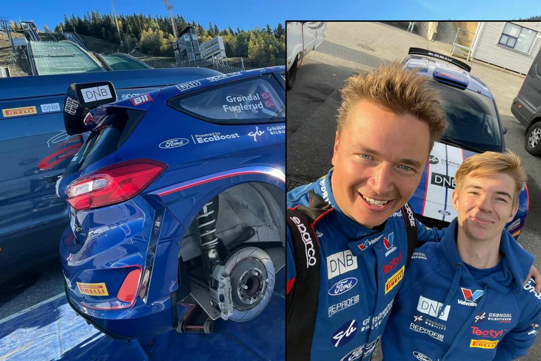GULL: Endelig stemte alt for Anders Grøndal som tok innersvingen på konkurrentene i helga. Her sammen med mekaniker Magnus Hansen.